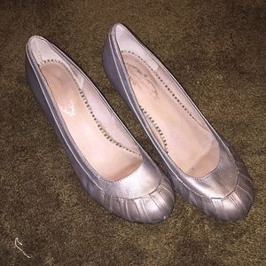 Hush Puppies Metallic Taupe Faux Leather Low Heels